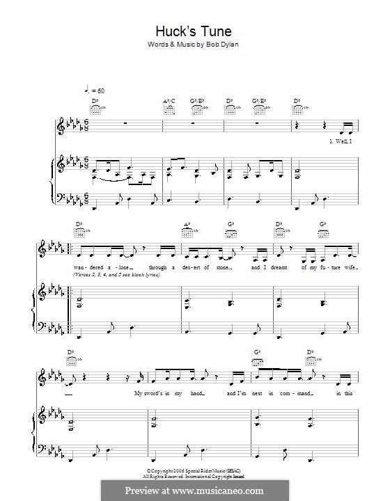 Huck's Tune: Für Stimme und Klavier (oder Gitarre) by Bob Dylan