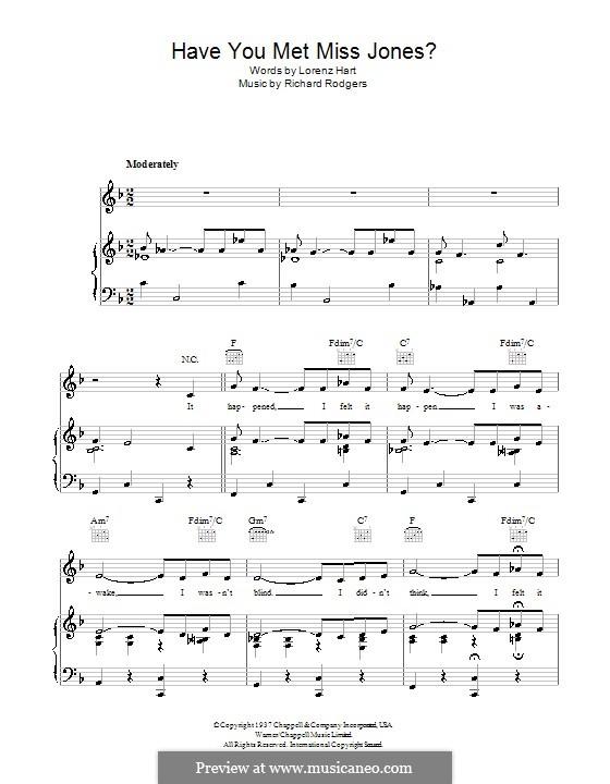 Have You Met Miss Jones?: Für Stimme und Klavier (oder Gitarre) by Richard Rodgers