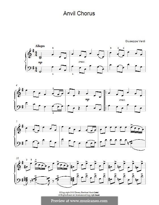 Anvil Chorus: Für Klavier by Giuseppe Verdi