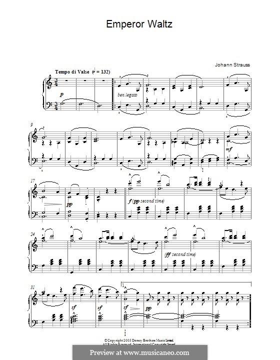 Kaiser-Walzer, Op.437: Für Klavier (Noten von hoher Qualität) by Johann Strauss (Sohn)