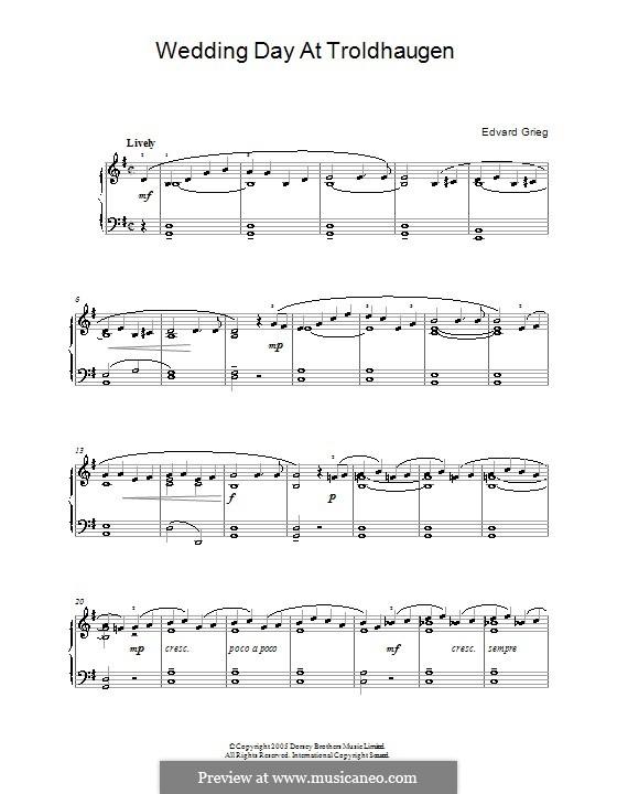 Lyrische Stücke, Op.65: Nr.6 Hochzeitstag auf Troldhaugen by Edvard Grieg
