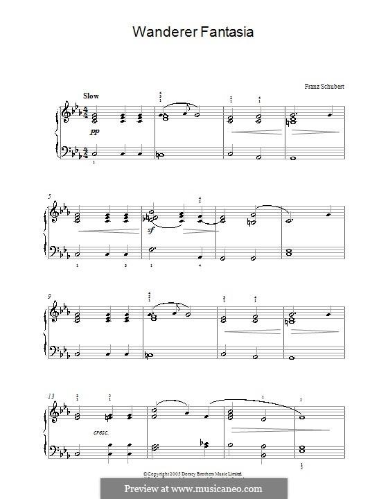 Fantasie für Klavier in C-Dur 'Wanderer', D.760 Op.15: Andante (Theme) by Franz Schubert