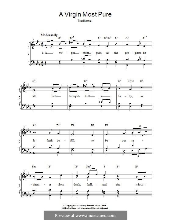 A Virgin Most Pure: Für Stimme und Klavier by folklore