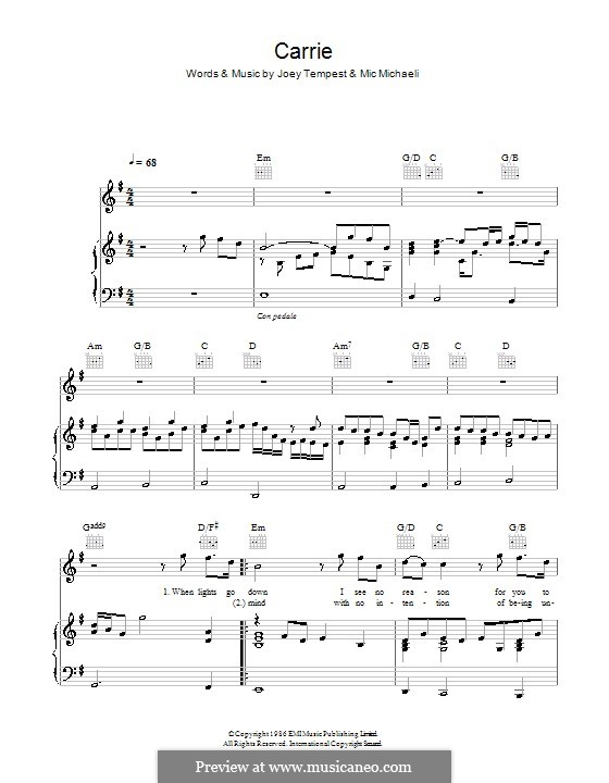 Carrie (Europe): Für Stimme und Klavier (oder Gitarre) by Joey Tempest, Mic Michaeli