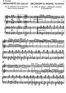 Impromptu in Form vom Galopp über ein Thema aus der Oper 'L'elisir d'amore' von G. Donizetti: Für Klavier, vierhändig by Michail Glinka