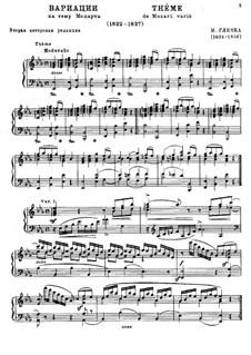 Variationen über Thema aus 'Die Zauberflöte' von Mozart: Variationen über Thema aus 'Die Zauberflöte' von Mozart by Michail Glinka