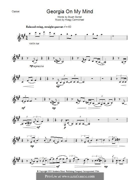 Georgia on My Mind: Für Klarinette (Ray Charles) by Hoagy Carmichael