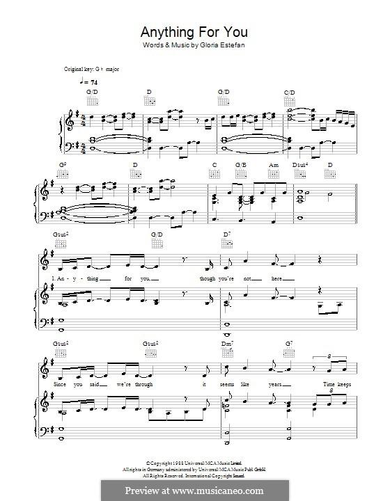 Anything for You: Für Stimme und Klavier (oder Gitarre) by Gloria M. Estefan