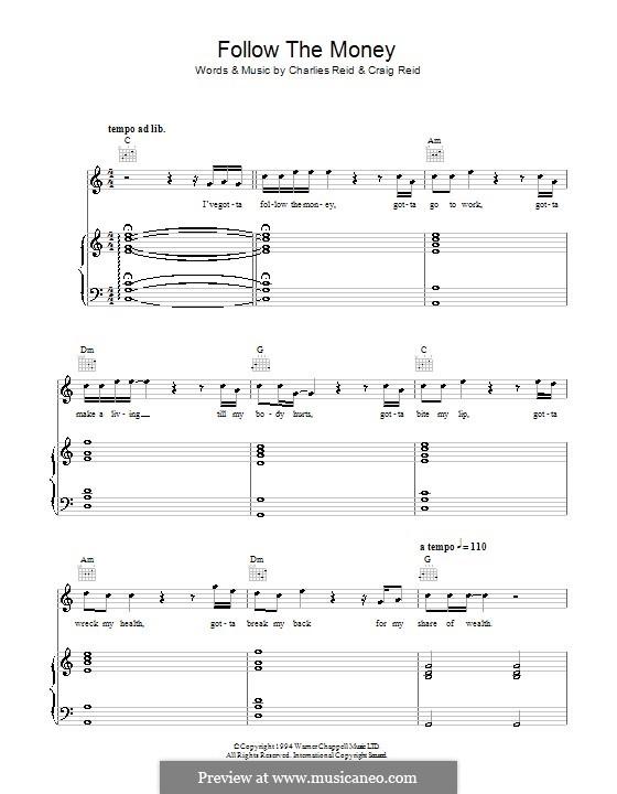 Follow the Money (The Proclaimers): Für Stimme und Klavier (oder Gitarre) by Charles Reid, Craig Reid