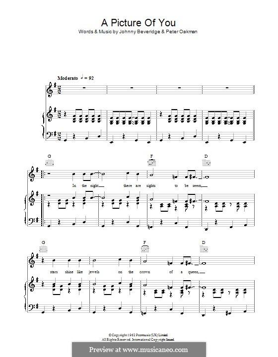A Picture of You (Joe Brown): Für Stimme und Klavier (oder Gitarre) by Johnny Beveridge, Peter Oakman