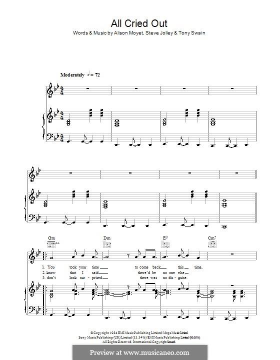 All Cried Out (Alison Moyet): Für Stimme und Klavier (oder Gitarre) by Steve Jolley, Tony Swain
