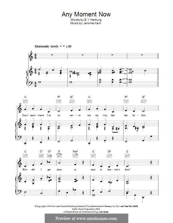 Any Moment Now: Für Stimme und Klavier (oder Gitarre) by Jerome Kern
