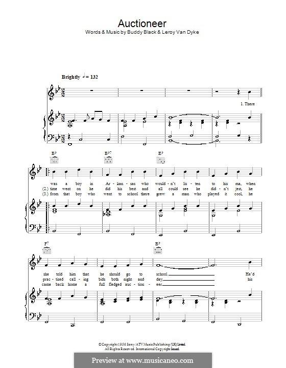 Auctioneer (Leroy Van Dyke): Für Stimme und Klavier (oder Gitarre) by Buddy Black