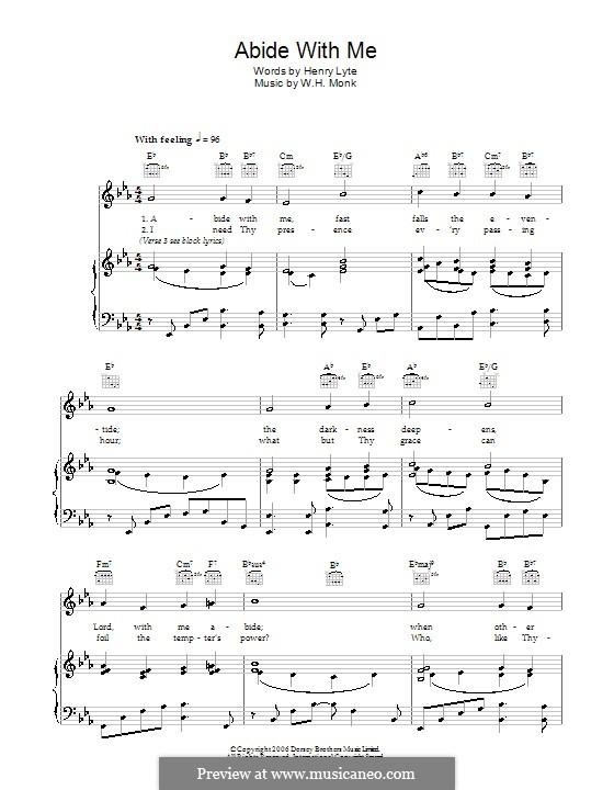 Abide with Me: Für Stimme und Klavier (oder Gitarre) by William Henry Monk