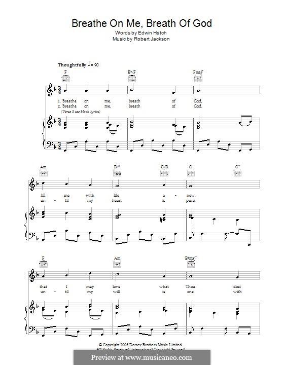 Breathe on Me, Breath of God: Für Stimme und Klavier (oder Gitarre) by Robert Jackson