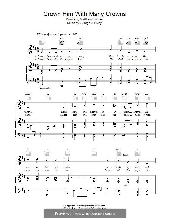 Crown Him with Many Crowns: Für Stimme und Klavier (oder Gitarre) by George Job Elvey