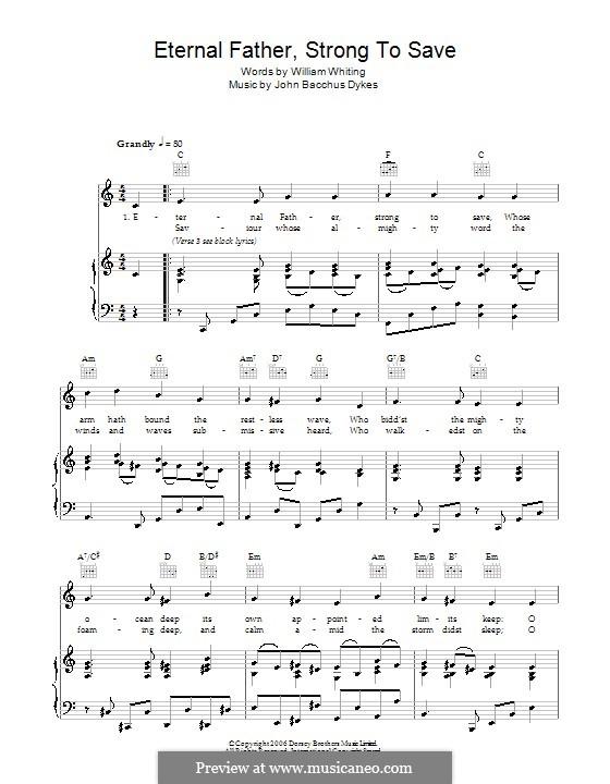 Eternal Father, Strong to Save: Für Stimme und Klavier oder Gitarre (C-Dur) by John Bacchus Dykes