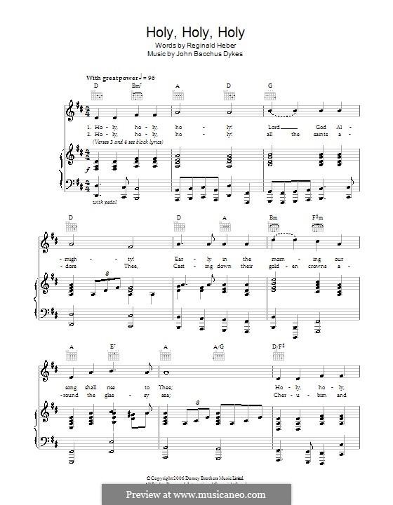 Holy, Holy, Holy! Lord God Almighty: Für Stimme und Klavier (oder Gitarre) by John Bacchus Dykes