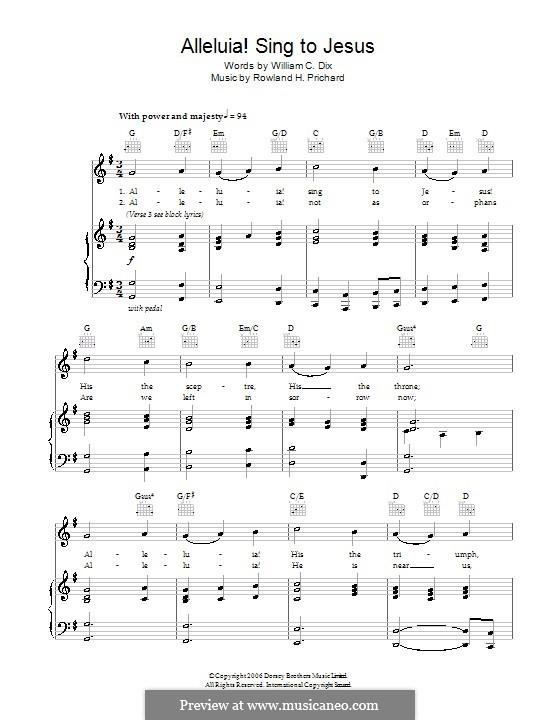 Alleluya, Sing to Jesus: Für Stimme und Klavier (oder Gitarre) by Rowland Huw Prichard