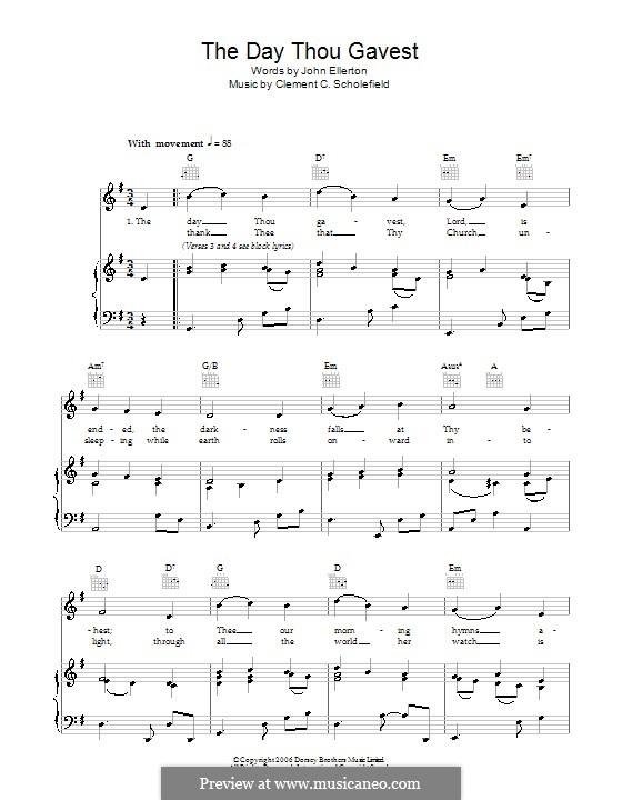 The Day Thou Gavest: Für Stimme und Klavier (oder Gitarre) by Clement Cotterill Scholefield
