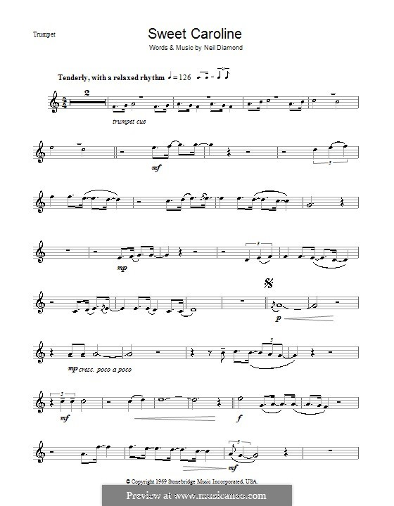 Sweet Caroline: Für Trompete by Neil Diamond