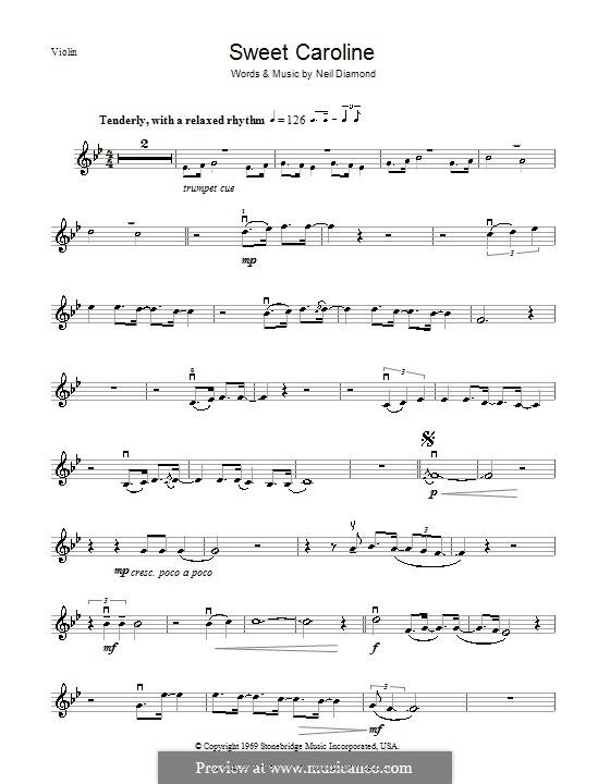 Sweet Caroline: Für Violine by Neil Diamond