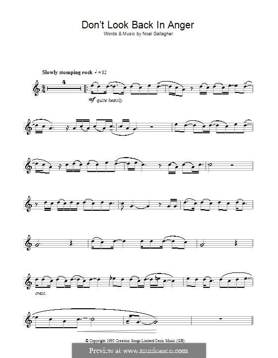 Don't Look Back in Anger (Oasis): Für Flöte by Noel Gallagher