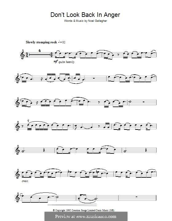 Don't Look Back in Anger (Oasis): Für Violine by Noel Gallagher