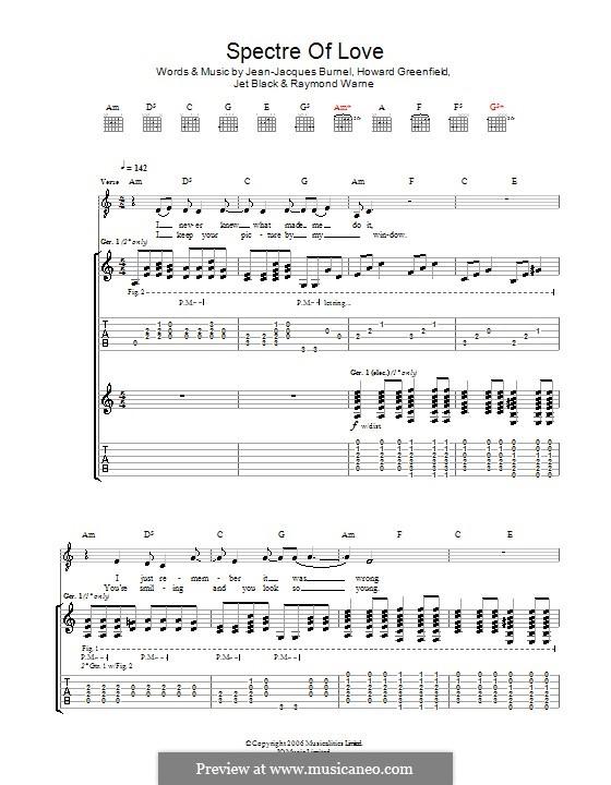 The Spectre of Love (The Stranglers): Für Gitarre mit Tabulatur by Howard Greenfield, Jean-Jacques Burnel, Jet Black, Raymond Warne