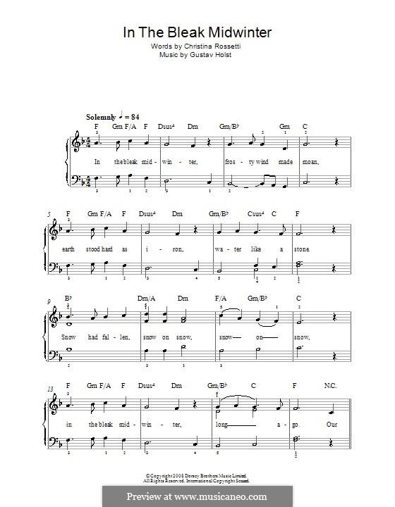 In the Bleak Midwinter: Für Klavier, leicht by Gustav Holst