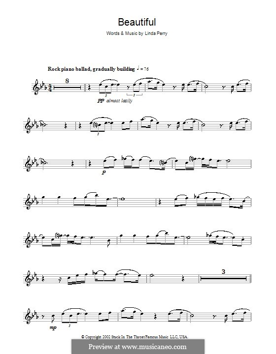 Beautifull (Christina Aguilera & Beverly McClellan): Für Flöte by Linda Perry