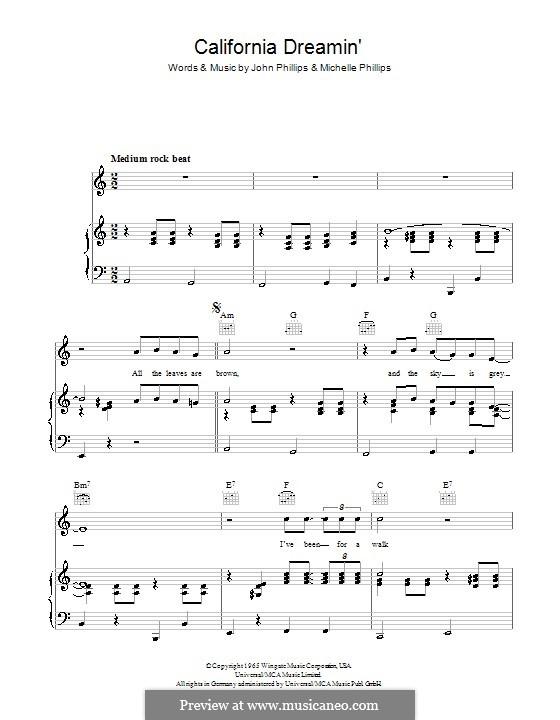 California Dreamin' (The Mamas & The Papas): Für Stimme und Klavier (oder Gitarre) by John Phillips, Michelle Phillips