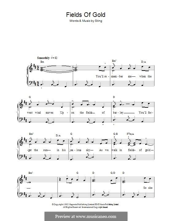 Fields of Gold: Für Klavier, leicht by Sting