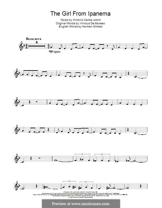 The Girl from Ipanema (Garota de Ipanema): Für Trompete by Antonio Carlos Jobim