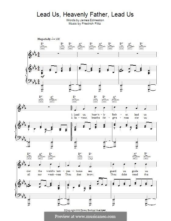 Lead Us Heavenly Father, Lead Us (James Edmeston): Für Stimme und Klavier (oder Gitarre) by Friedrich Filitz