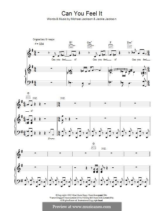 Can You Feel It (The Jacksons): Für Stimme und Klavier (oder Gitarre) by Jackie Jackson, Michael Jackson
