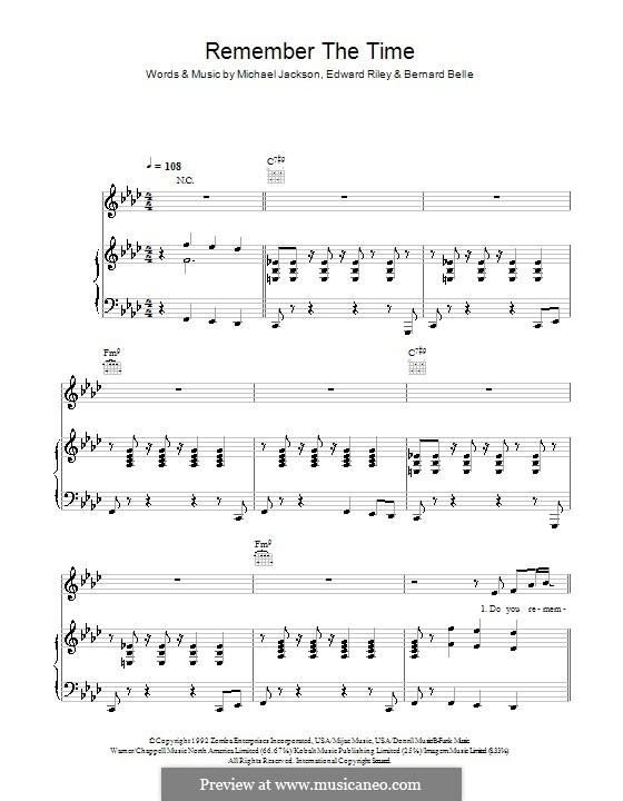Remember the Time: Für Stimme und Klavier (oder Gitarre) by Bernard Belle, Teddy Riley, Michael Jackson