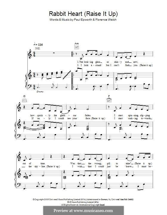 Rabbit Heart (Raise It Up): Für Stimme mit Klavier oder Gitarre (Florence and The Machine) by Brian Degraw, Elizabeth Bougatsos, Florence Welch, Joshua Deutsch, Paul Epworth, Timothy Dewit