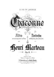 Chaconne für Bratsche und Klavier, Op.8: Chaconne für Bratsche und Klavier by Henri Marteau