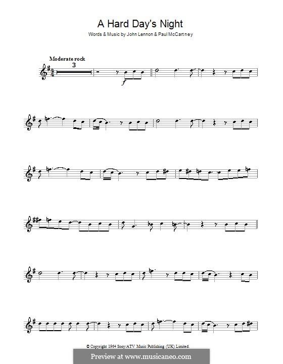 A Hard Day's Night (The Beatles): Für Klarinette by John Lennon, Paul McCartney