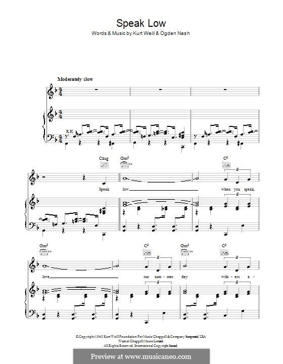 Speak Low: Für Stimme und Klavier (oder Gitarre) by Kurt Weill