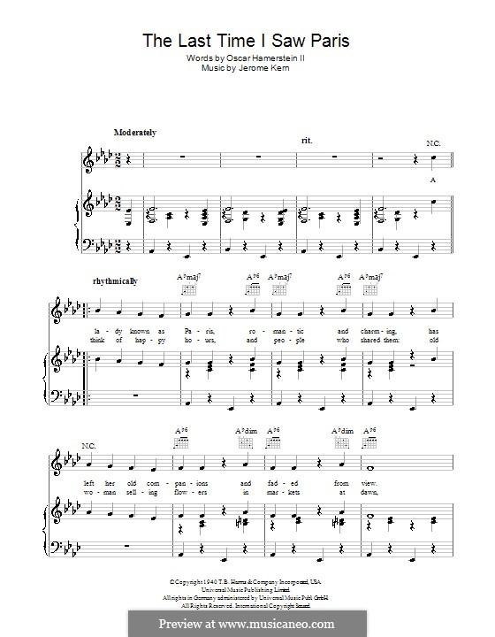 The Last Time I Saw Paris: Für Stimme und Klavier (oder Gitarre) by Jerome Kern