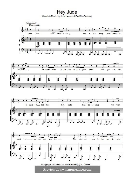 Hey Jude (The Beatles): Für Stimme und Klavier by John Lennon, Paul McCartney