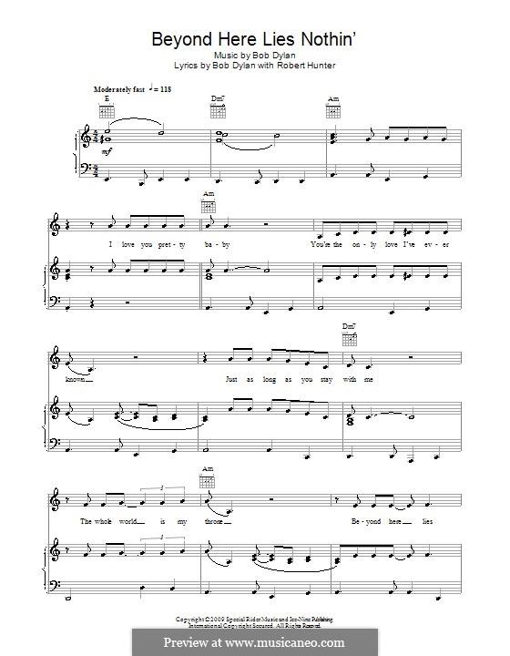 Beyond Here Lies Nothin': Für Stimme und Klavier (oder Gitarre) by Bob Dylan