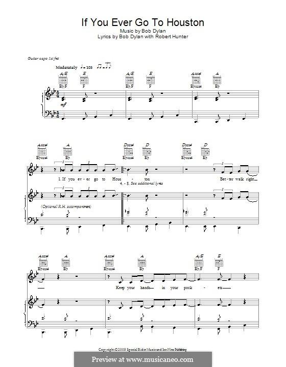 If You Ever Go To Houston: Für Stimme und Klavier (oder Gitarre) by Bob Dylan
