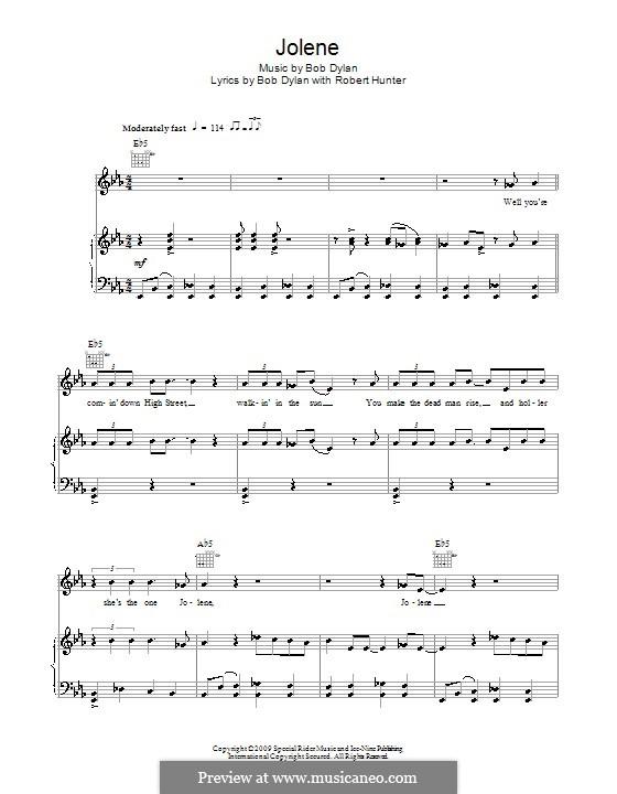 Jolene: Für Stimme und Klavier (oder Gitarre) by Bob Dylan