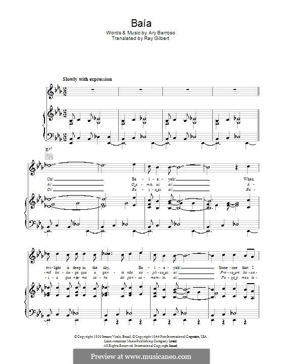 Baia: Für Stimme und Klavier (oder Gitarre) by Ary Barroso