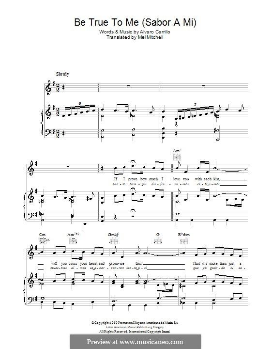 Sabor a Mi (Be True to Me): Für Stimme und Klavier (oder Gitarre) by Alvaro Carrillo