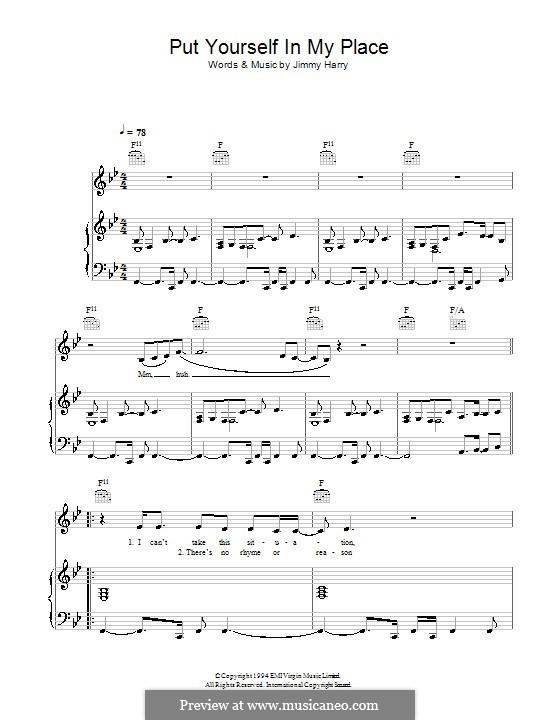 Put Yourself in My Place (Kylie Minogue): Für Stimme und Klavier (oder Gitarre) by Jimmy Harry