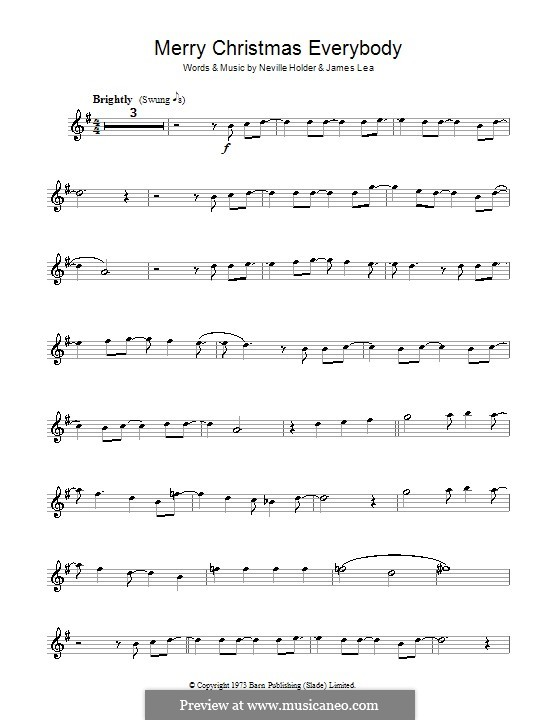 Merry Xmas Everybody (Slade): Für Klarinette by James Lea, Noddy Holder